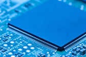 Electronic circuit board with processor — Stock Photo