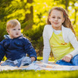 Happy kids have fun in outdoors park — Stock Photo
