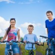 Family riding bicycles in the field — Stock Photo