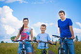 Family riding bicycles in the field — Stockfoto