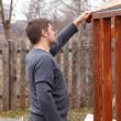 Stock Photo: Carpenter Make new greenhouse
