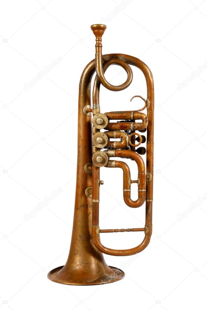 Old trumpet on a white background — Stock Photo #13592623