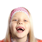 Little girl with missing front teeth — Stock Photo