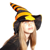 Girl with witch hat — Stock Photo