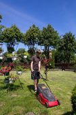 Boy mowing the garden — Stock Photo