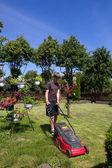 Boy mowing the garden — Stock Photo