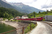 Swiss mountain train Bernina Express — Stock Photo