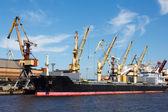 Kuru yük gemisi limanda — Stok fotoğraf