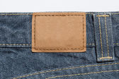 Leather label on jeans — Stockfoto