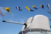 Pistool op oorlogsschip — Stockfoto