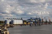 Port grain terminals — Stock Photo
