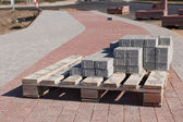Sidewalk construction bricks — Stock fotografie