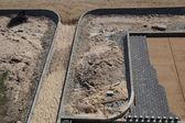 Smooth stone brick road construction — Stock Photo
