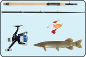 Sport fishing equipment — Stock Vector