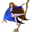 Witch flying on a broomstick like surfing — Stock Vector