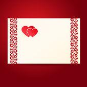 Dos heartes postal — Vector de stock