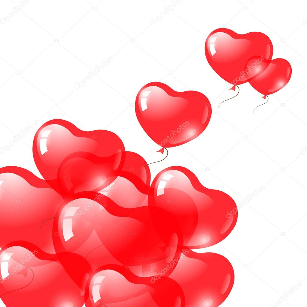 Red heart shaped balloons. Valentine's day symbol. EPS10 vector — ベクター素材ストック #18380679