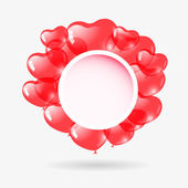 Red heart shaped balloons. Valentine's day background. — Vector de stock