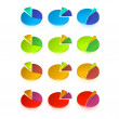 Set of different pie chart — Stock Vector