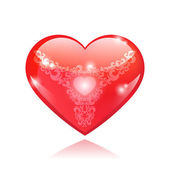 Beautiful red glossy heart shape with vintage pattern — Stock Vector