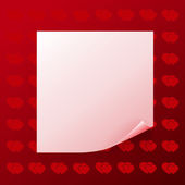 Note on red background with hearts — Stock Vector