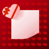 Note with gift on red background with hearts — Stock Vector