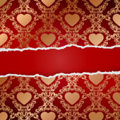 Ragged paper with pattern of hearts — Stockvector