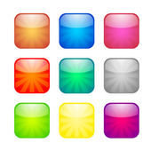 Set of glossy button icons — Stock Vector