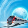 Concept background with high-speed train and the globe. — Stock Vector #43255571