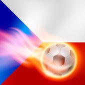 Burning football on Czech Republic flag background — Stock vektor