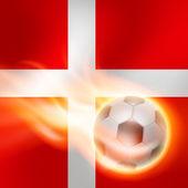 Burning football on Denmark flag background — Stock Vector