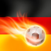 Burning football on Germany flag background — ストックベクタ