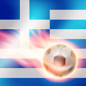 Burning football on Greece flag background — Wektor stockowy