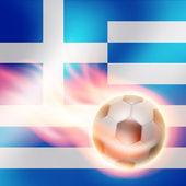 Gravure de football sur fond de drapeau de la grèce — Vecteur