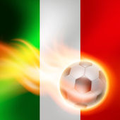 Burning football on Italy flag background — Stock vektor