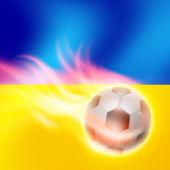 Burning football on Ukraine flag background — Stock vektor