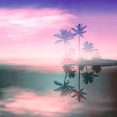 Sea sunset with island and palm trees. Retro style with old textured paper. — Stok Vektör
