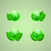 Set of icons for app or web design. Green leaves with the globes — Stock vektor
