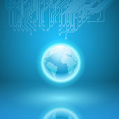 Abstract electronics blue background with circuit board texture  — Wektor stockowy