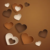 Chocolate hearts. Valentine's day background. — 图库矢量图片