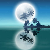 Sea with island with palm trees and full moon at night. — Stock vektor