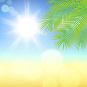 Sunny background with palm leaves. — Stock Vector