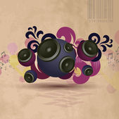 Abstract vintage music background with round speakers — ストックベクタ