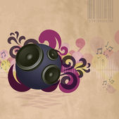 Abstract vintage music background with round speakers — Vettoriale Stock