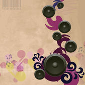 Abstract vintage music background with speakers — Stock Vector