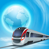 Concept background with high-speed train and the globe. — Stok Vektör