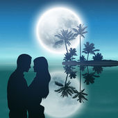 Sea at night. Island with palm trees, full moon and silhouette couple. — ストックベクタ