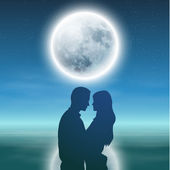 Sea with full moon and silhouette couple at night. — ストックベクタ