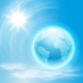 Background with globe and sun — Stock vektor