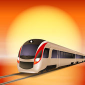 High-speed train. Sunset time. — Wektor stockowy